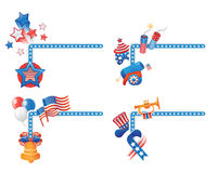 4TH July Corners. 4TH July themed corner shaped design elements Royalty Free Stock Photography