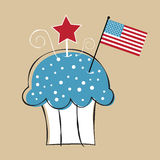 4th of July Cupcake. Patriotic 4th of July American Cupcake Stock Illustration