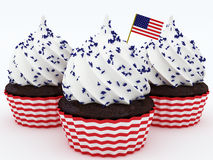 4th of July cupcakes. Cupcakes with American flag. 3d rendered illustration vector illustration