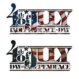 4th of July Cut-Out Independance Day. Typographic art cut-out with a waving American flag underneath. The Settle thickness on the cut-out border follows the Stock Image