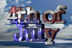 4th of july. 3D text Royalty Free Stock Photo