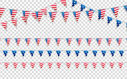 4th of July. Decoration set of garlands for USA national holidays, events, banners, posters, web.. Fourth of July vector. Illustration Stock Photo