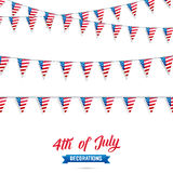 4th of July. Decoration set of USA flag garlands. Fourth of July vector illustration. 4th of July. Decoration set of USA flag garlands. Fourth of July vector Royalty Free Stock Photo