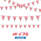 4th of July. Decoration set of USA flag stripes garlands. Fourth of July vector illustration. 4th of July. Decoration set of USA flag stripes garlands. Fourth Stock Images