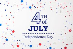 4th of July decorations on a white background. Flat lay stock illustration