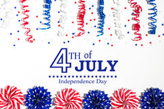 4th of July decorations on a white background. Flat lay Royalty Free Stock Image