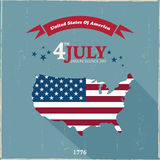 4th July Design. 4th of July Design Abstract Usa Map Background Royalty Free Stock Photo