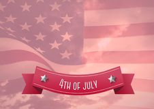 4th of July design with an american flag in background. Digital composite of 4th of July design with an american flag in background Stock Illustration