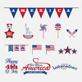 4th of july design elements, set for celebrate independence day Royalty Free Stock Photos
