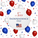 4th of July design. 4th of July greetin card with star background in flat design Royalty Free Stock Image