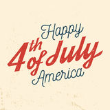 4th of july design in retro style. Fourth of July felicitation classic postcard. Independence day greeting card. Patriotic banner for website template. Vector Stock Photos