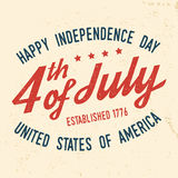 4th of july design in retro style. Fourth of July felicitation classic postcard. Independence day greeting card. Patriotic banner for website template. Vector Royalty Free Stock Photo