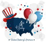 4th of july design. USA map with american hat and balloons over white background. Vector illustration Stock Photos