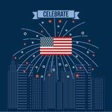 4th of july emblem image. Vector illustration design Stock Image
