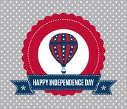 4th of July emblem. USA Patriotic Independence Day badge with vintage style. It reads Happy Independence Day. It has a hot air balloon and a polka dots Stock Photos