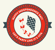 4th of July emblem. USA Patriotic Independence Day badge with vintage style. It reads Happy Independence Day! Let's party like it's 1776. It has a kite Stock Photography
