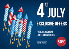 4th of  July  exclusive  offers  banner  with  firework  rockets. Independence  Day of the USA. 4th of  July  sale banner  with  firework  rockets  on blue Stock Image