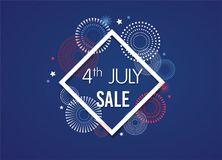 4th of July Exclusive Offers Sale, Sale Poster, Sale Banner, Sale Flyer, Extra Discount Offer, Online Sale. Vector. Illustrationn Royalty Free Stock Photography