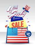 4th of July, Exclusive Sale Offer with Shopping Bag, and Hat. 4th of July, Exclusive Sale Offer with Shopping Bag, and Hat on grey background Stock Photography