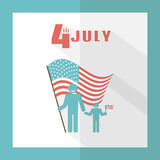 4th of July. Father with baby on a background of the American flag. Greeting card in a flat style. Holiday Independence Day July 4th. Simple, minimal design stock illustration