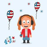 4th july female character royalty free illustration