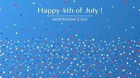 4th of July festive greeting card with text. American Happy Independence Day. Concept  design background with paper confetti in traditional American colors Royalty Free Stock Photo