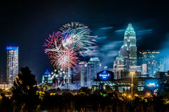 4th of july firework  over charlotte skyline Royalty Free Stock Photography