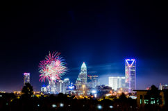 4th of july firework over charlotte skyline Stock Image