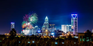4th of july firework over charlotte skyline Royalty Free Stock Image