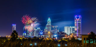 4th of july firework over charlotte  skyline Stock Photo