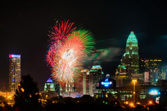 4th of july firework over charlotte  skyline Royalty Free Stock Photos