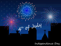 4th of July Fireworks Background. Blue background with fireworks on the night of 4 th of July Stock Image