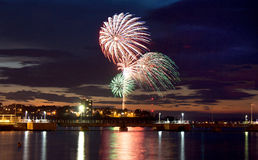 4th of July Fireworks on the Bay. Fireworks seen on over the coast of Portland, Maine royalty free stock photos
