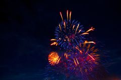 4th July fireworks. Fireworks display on dark sky background.  stock photography