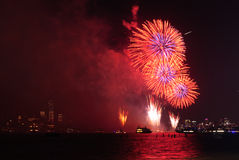 4th of July Fireworks in New York. 4th of July Independence Day Fireworks on Hudson River with a view of Financial District and Freedom Tower in New York City Royalty Free Stock Photo