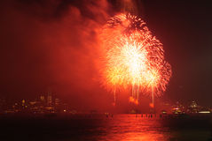 4th of July Fireworks in New York. 4th of July Independence Day Fireworks on Hudson River with a view of Financial District and Freedom Tower in New York City Royalty Free Stock Image