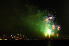 4th of July Fireworks in New York. 4th of July Independence Day Fireworks on Hudson River with a view of Financial District and Freedom Tower in New York City Royalty Free Stock Photography