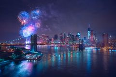 4th of July Fireworks in New-York. View from Manhattan Bridge stock photos