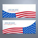 4th of july flag banners. Vector Stock Images