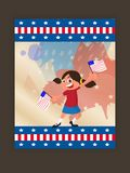 4th of July Flyer Design, with kid holding flag. 4th of July Flyer Design, with kid holding flag, Happy Girl Stock Photos