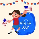 4th of July Flyer Design, with kid holding flag. 4th of July Flyer Design, with happy girl holding flag Royalty Free Stock Photo