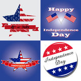 4th of July. Four colored backgrounds with different elements for independence day vector illustration
