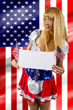 4th of July Girls. Women dressed up in a costume with the American flag on 4th of July Royalty Free Stock Photo