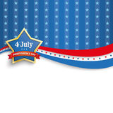 4th July Golden Star Blue Stripes. Independence day retro flyer with golden star Vector Illustration