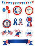 4th july graphic collection. USA 4th of july graphic collection with ribbon , banner, balloons Stock Images