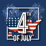 4th of July greeting card background. Vector illustration. 4th of July celebration greeting card background. Vector illustration Royalty Free Stock Images