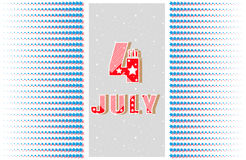 4th of July. Greeting card, banner. Holiday Independence Day July 4th. Pattern of symmetrical radiating star. In the center big bright 4th of July. Space Royalty Free Stock Photo