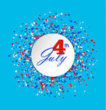 4th of July greeting card with circle made of blue, red and white dots on light blue background. White circle with words in the center. USA Independence day Royalty Free Stock Photo
