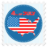 4th of July. Greeting card in the form of a postage stamp. Holiday Independence Day July 4th. Map of America in colors of the national flag. With bright red Stock Photo