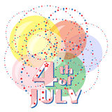 4th of July. Greeting card with a holiday Independence Day, July 4th.. Circles of stars located in a chaotic mess on the background of colorful balloons. Vector Stock Image